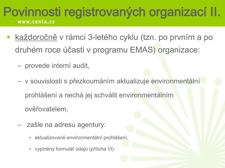 Povinnosti registrovaných organizací II.
