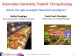 automation generality tradeoff dining analogy