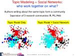 topic modeling social networks w ho work together on what