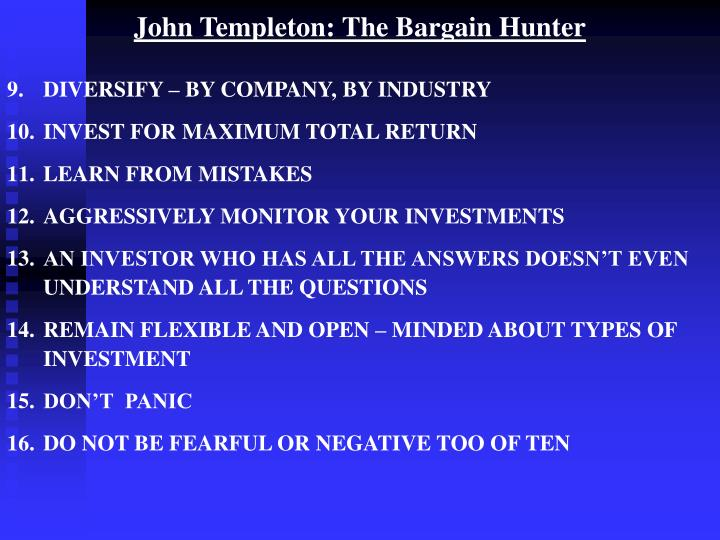 John Templeton: The Bargain Hunter