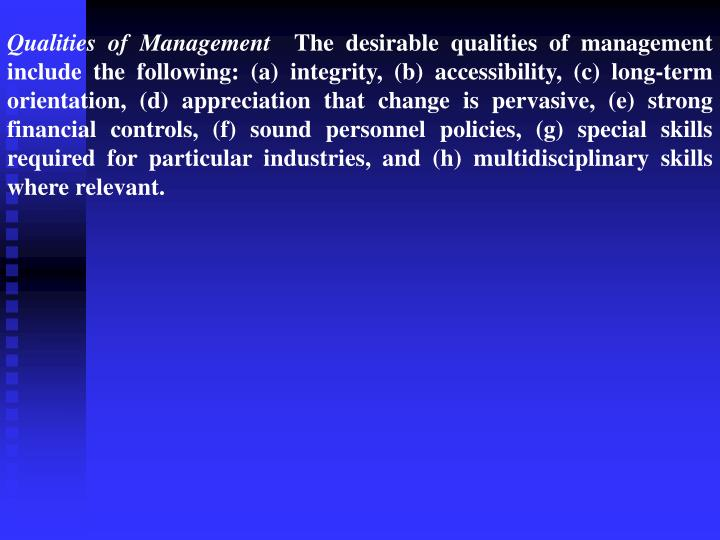 Qualities of Management