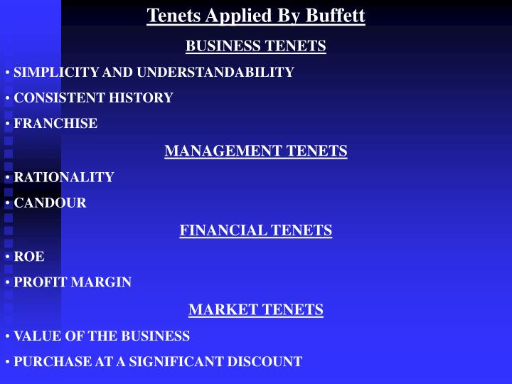 Tenets Applied By Buffett