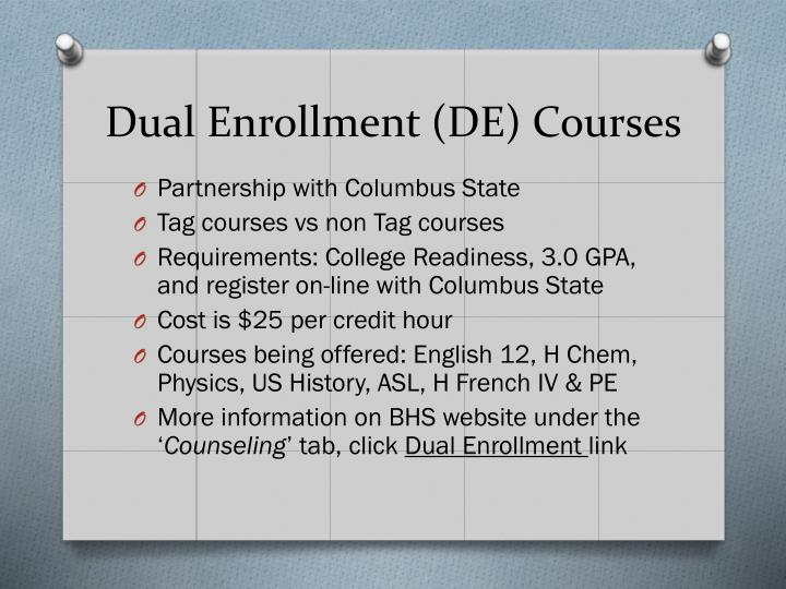 Dual Enrollment (DE) Courses