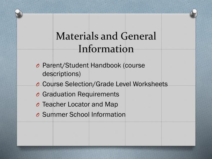 Materials and general information