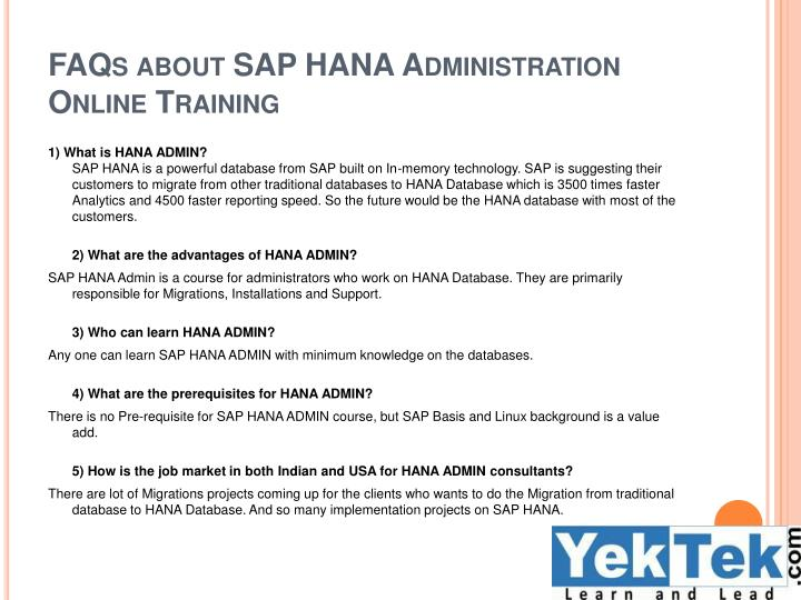 FAQs about SAP HANA Administration Online Training