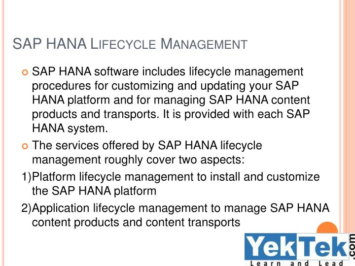 SAP HANA Lifecycle Management