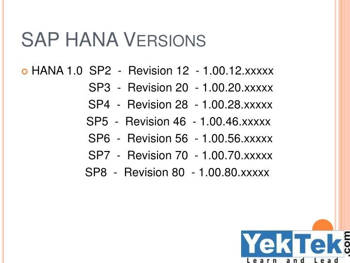SAP HANA Versions