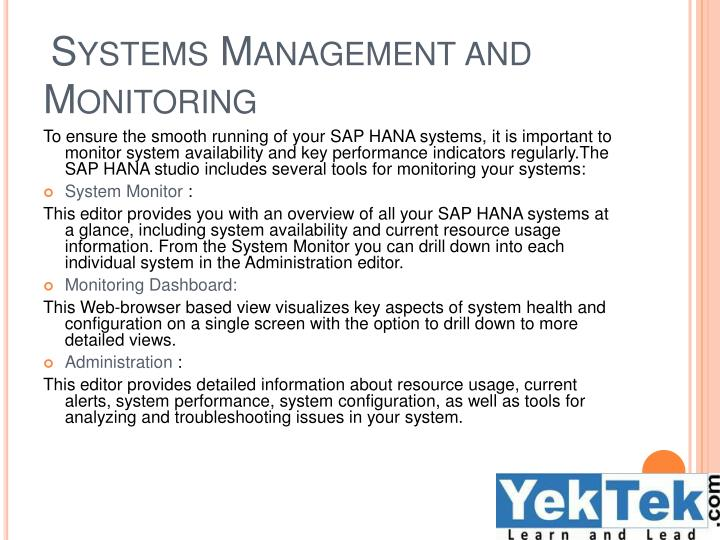Systems Management and Monitoring