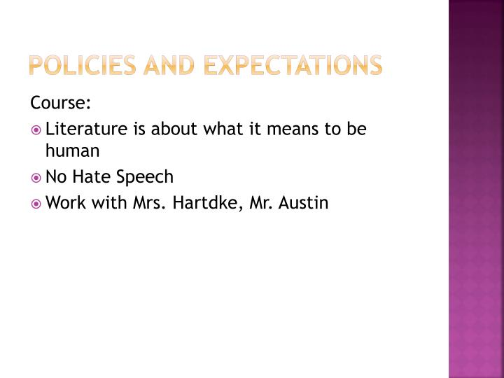 Policies and expectations