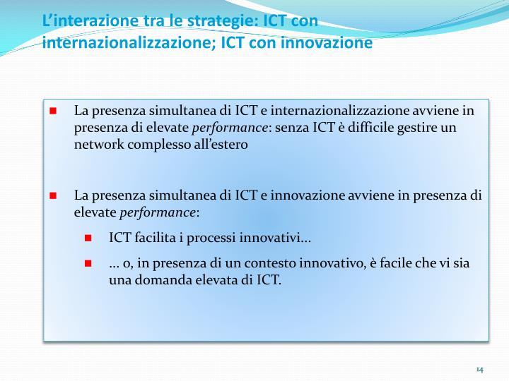 L'interazione tra le strategie: ICT con internazionalizzazione; ICT con innovazione