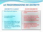 la trasformazione dei distretti