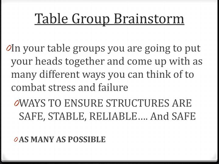 Table Group Brainstorm