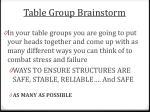table group brainstorm