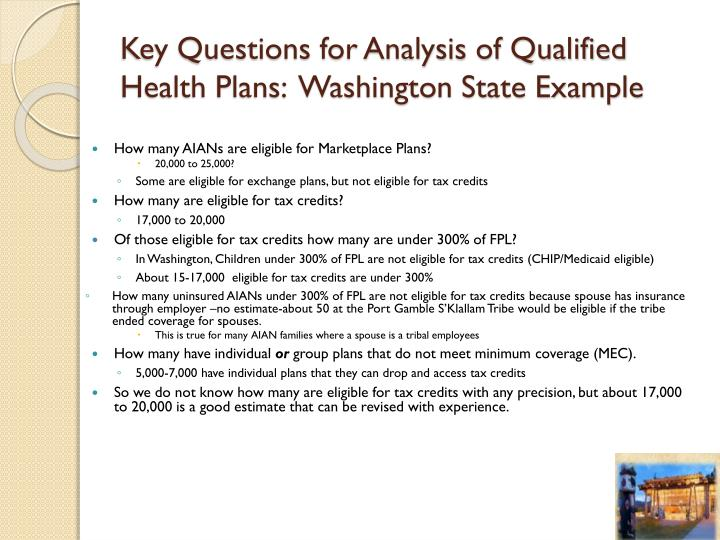 Key Questions for Analysis of Qualified Health Plans:  Washington State Example