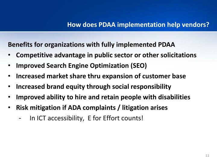 How does PDAA implementation help vendors?