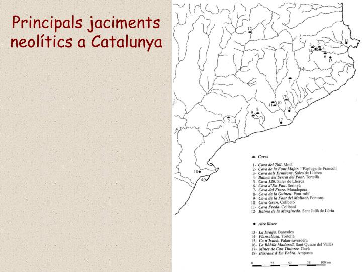 Principals jaciments neolítics a Catalunya