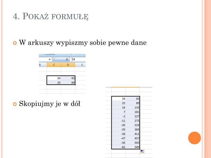 4. Pokaż formułę