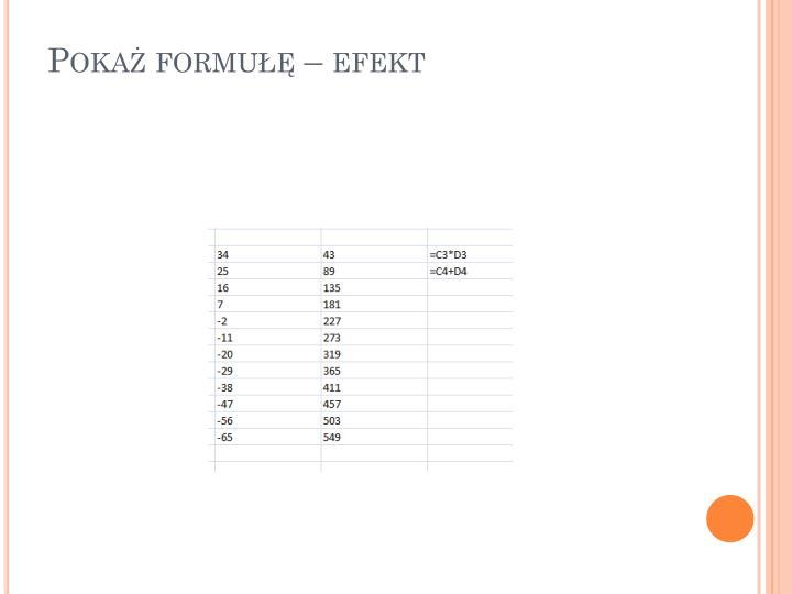 Pokaż formułę – efekt
