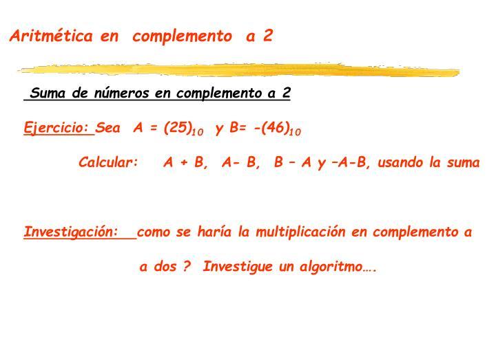 Aritmética en  complemento  a 2