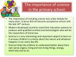 the importance of science in the primary school