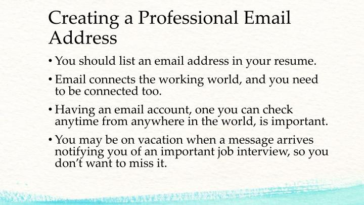 Creating a Professional Email Address