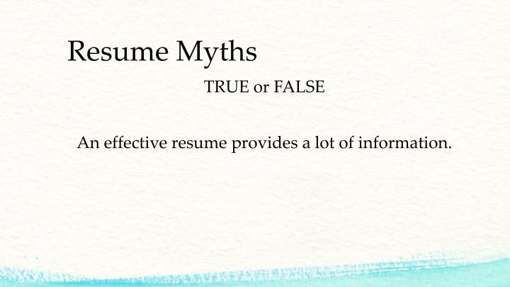 Resume Myths