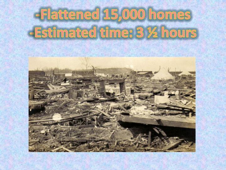 -Flattened 15,000 homes