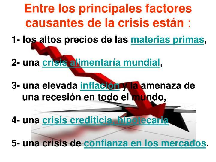 Entre los principales factores causantes de la crisis están
