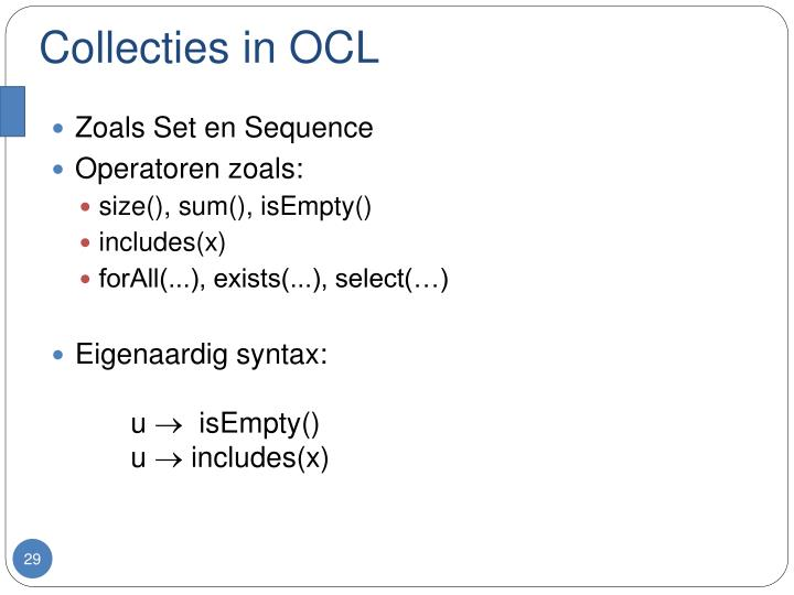 Collecties in OCL