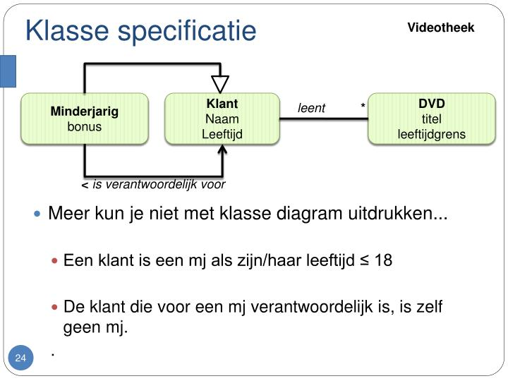 Klasse specificatie