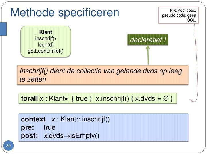 Methode specificeren