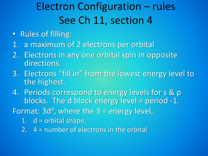 Electron Configuration – rules