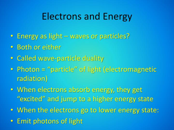 Electrons and Energy