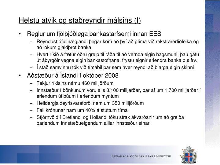 Helstu atvik og staðreyndir málsins (I)