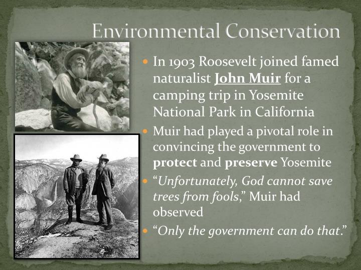 role of government in environmental conservation Roosevelt writings on conservation theodore roosevelt was the first president of the 1900s, a time of great expansion and development his devotion to conserving our natural and cultural history helped establish a precedent at an important time in our nation's history.