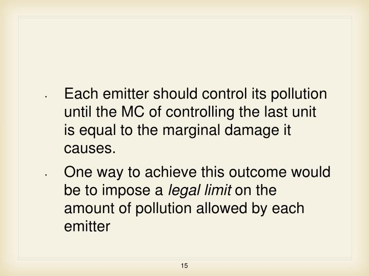 Each emitter should control its pollution until the MC of controlling the last unit is equal to the marginal damage it causes.