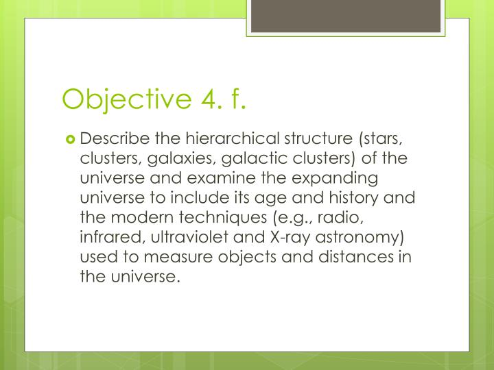 Objective 4. f.