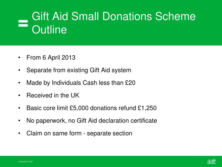 Gift Aid Small Donations Scheme Outline