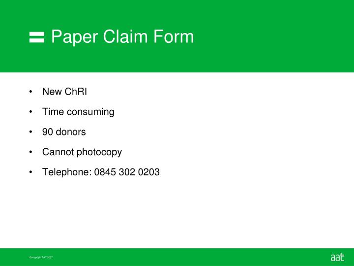 Paper Claim Form