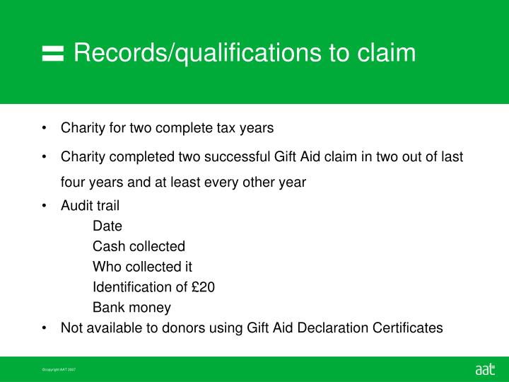 Records/qualifications to claim