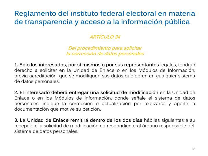 Reglamento del instituto federal electoral en materia de transparencia y acceso a la informacin pblica