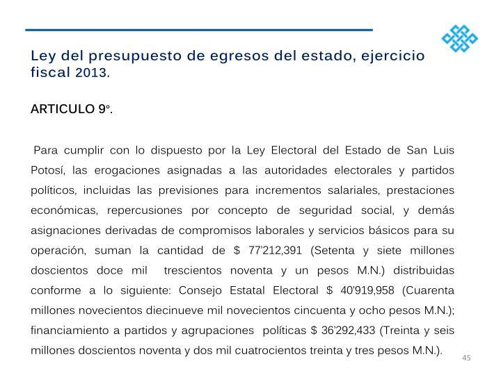 Ley del presupuesto de egresos del estado, ejercicio fiscal