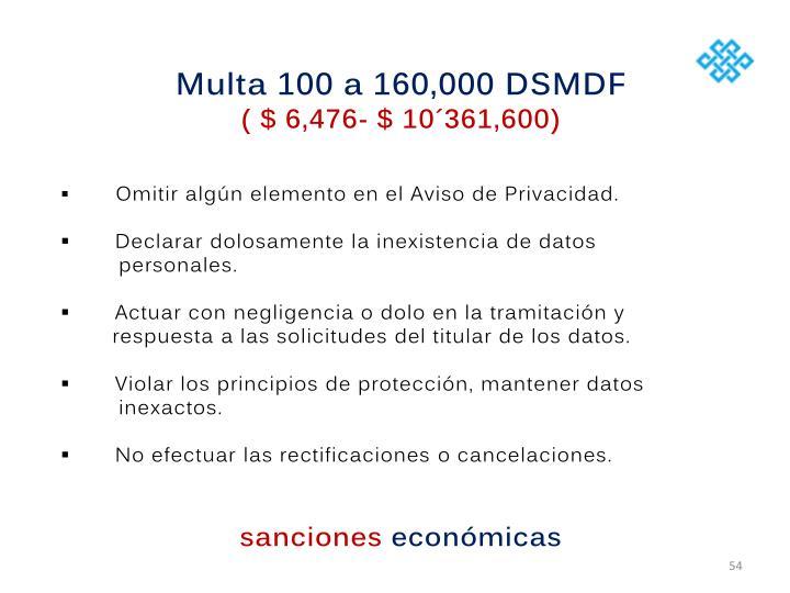 Multa 100 a 160,000 DSMDF