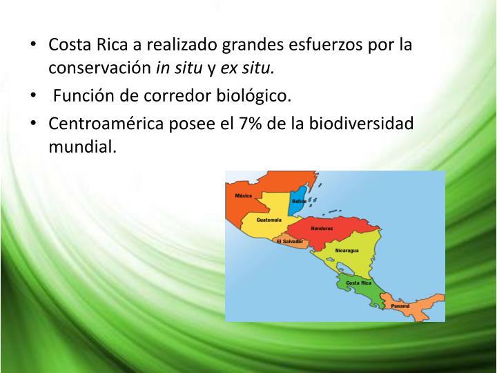 Costa Rica a realizado grandes esfuerzos por la conservación
