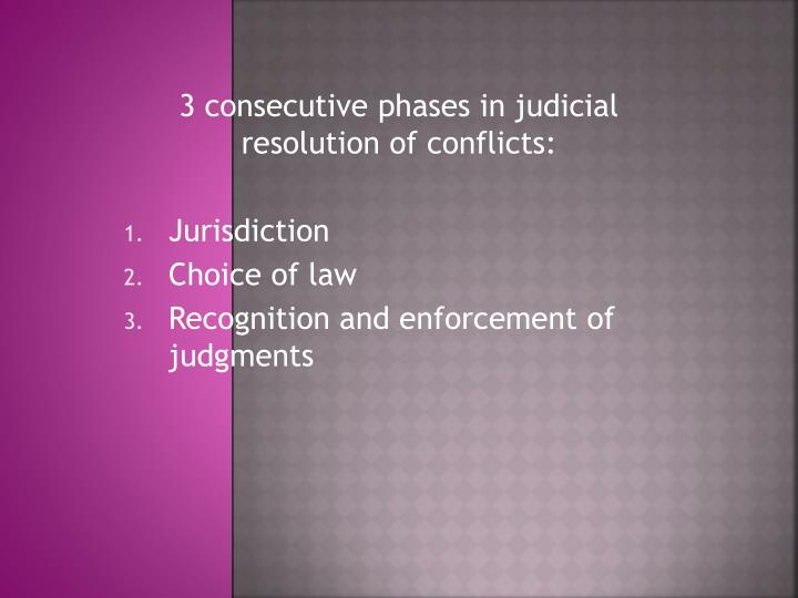 3 consecutive phases in judicial resolution of conflicts: