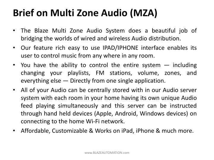 Brief on Multi Zone Audio (MZA)