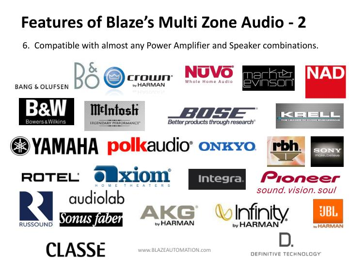 Features of Blaze's Multi Zone Audio - 2