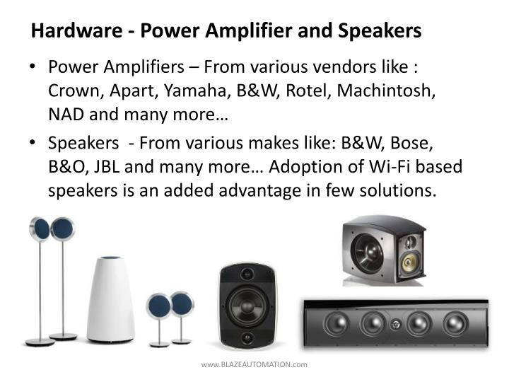 Hardware - Power Amplifier and Speakers