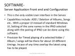 software server application front end and configuration