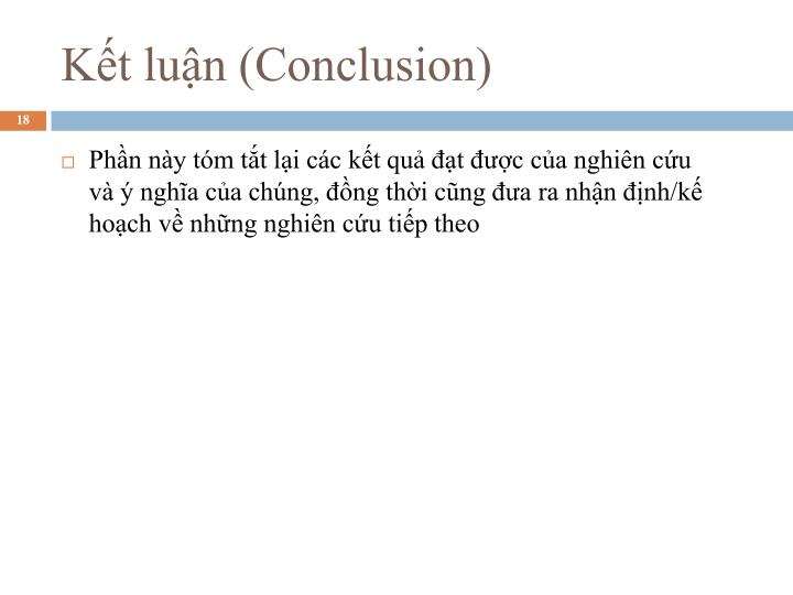 Kết luận (Conclusion)